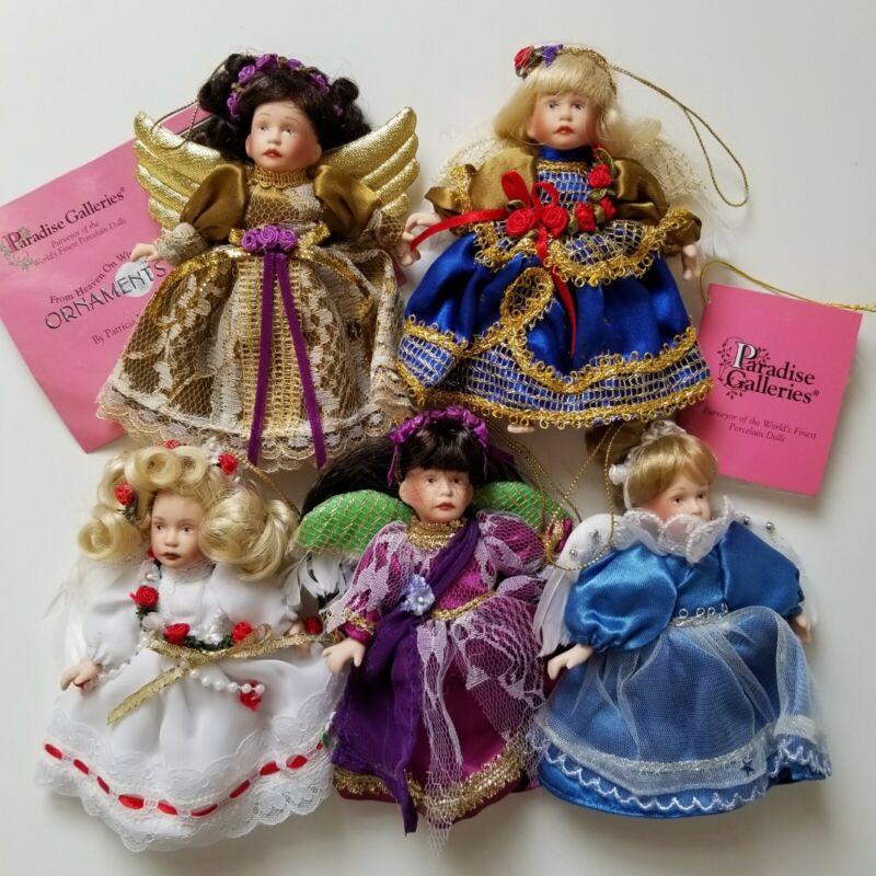 5 Vintage Porcelain Angel Dolls Ornaments by Paradise Galleries Heaven on Wings
