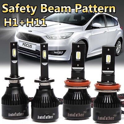 For 2012-2017 Ford Focus H1 & H11 LED Headlight High-Low Beam Bulbs Super Bright