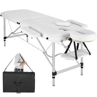 Mobile Alu Massageliege Massagetisch Massagebank klappbar 2 Zonen weiß B-Ware