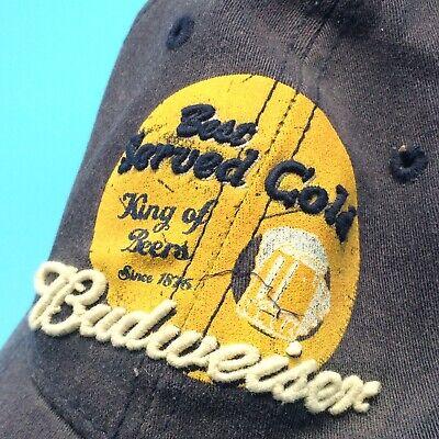 Budweiser Beer Best Served Cold Distressed Ball Cap Hat Flex Fit Anheuser