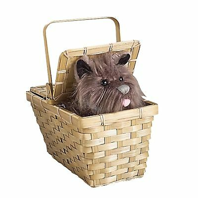 Dorothy 's Toto Fun Fur Dog in Basket Wizard of Oz Straw Costume Accessory Prop