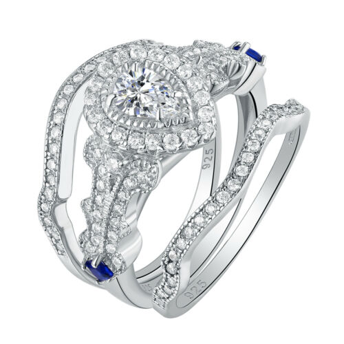 Pear White AAA Cz 925 Sterling Silver Wedding Engagement Rin