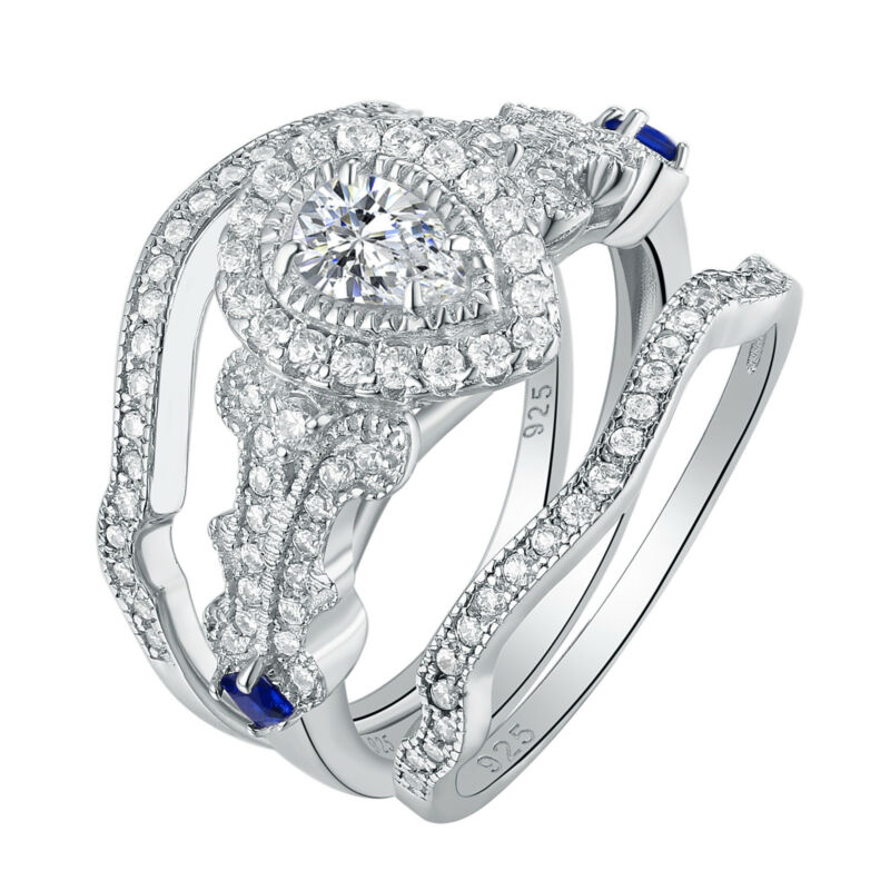 Pear White Aaa Cz 925 Sterling Silver Wedding Engagement Ring Set For Women 5-10