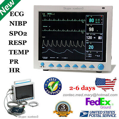 Cms8000 Contec Patient Monitor Portable Icu Ecgnibpspo2prresptemp Usa Fedex