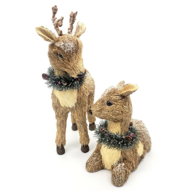 LOVELY! Christmas Reindeer Pair - Natural Straw Holiday Home Decor Realistic 2