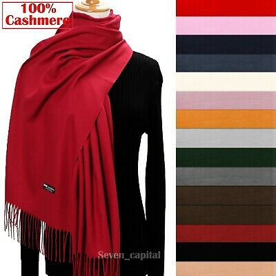 Womens Mens 100% Cashmere Scotland Oversized Blanket Wool Scarf Shawl Wrap Solid