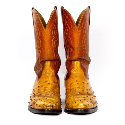 Lucchese, Mens, 10D, Exotic, Cognac, Full, Quill, Ostrich, Western, Cowboy, Boots