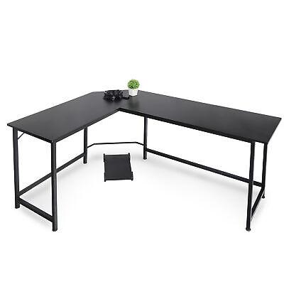 L-shaped Desk Corner Computer Gaming Work Table Workstation Office Black 66