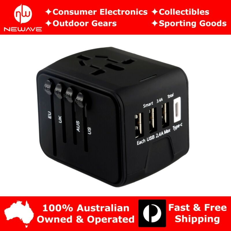 NEWAVE Smart Universal International Travel Adapter 3.4A 3 USB+Type C Charger Bk