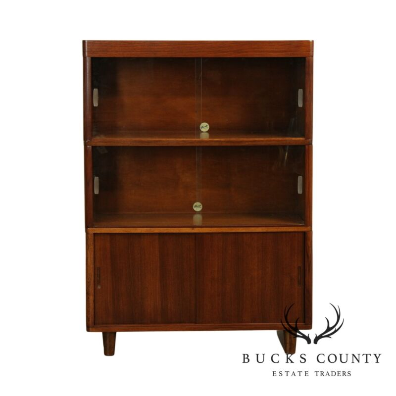 N. of Grand Rapids Mid Century Walnut 3 Stack Sliding Door, Barrister Bookcase
