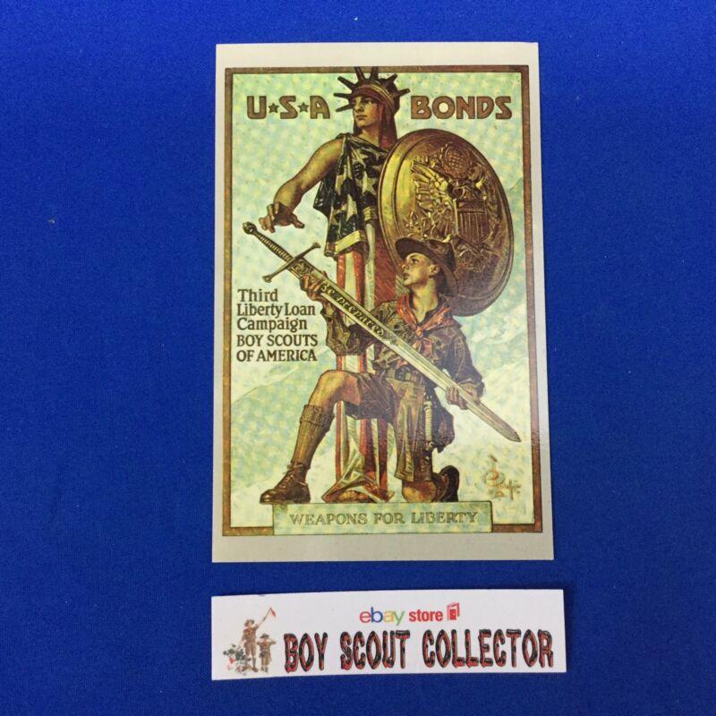Boy Scout Postcard USA Bonds Third Liberty Loan Campaign Weapons For Liberty WW1