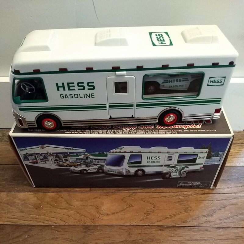 1998 Hess Recreation Van Truck with Dune Buggy and Motorcycle