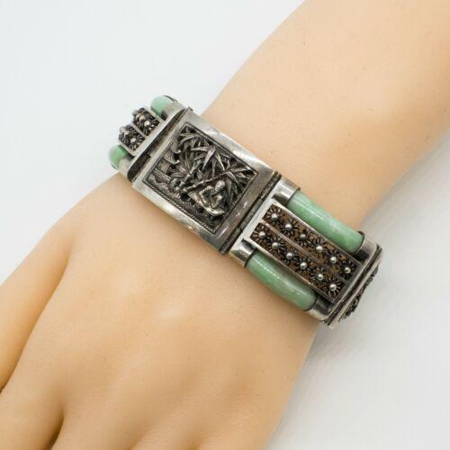 Vintage Chinese Export Sterling Jade Wide Bracelet (P0581)
