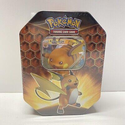 Pokemon HIDDEN FATES Tin Raichu GX BRAND NEW FACTORY SEALED In Hand 4 Boosters