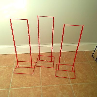 3 - Double Round Strip Potato Chip Candy Clip Counter Display Racks In Red
