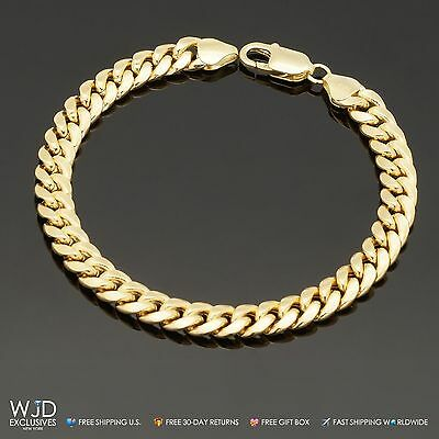 14K Real Yellow Gold 6.7 mm Wide Miami Cuban Link Men's Bracelet 8""