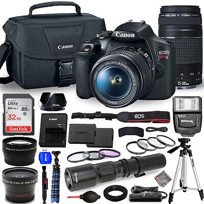 Canon EOS Rebel T7 Camera 18-55mm + 75-300mm + 500mm Bundle - AUTHORIZED DEALER