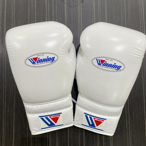 Winning Boxing Gloves Lace Up Pro Type 16 oz White MS-600 Made in Japan