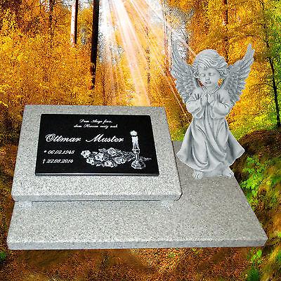 Grabstein Grabplatte Grabmal Gedenkstein.60x40 cm Granit Gravur incl. Engel