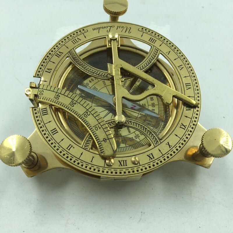 "Nautical Antique Brass Sundial Compass, 4"" Traditional Navigation Instrument"