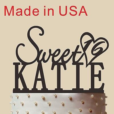 Customized Sweet 16 Cake Topper,Birthday Gift with Name and Age, Made in USA,5''
