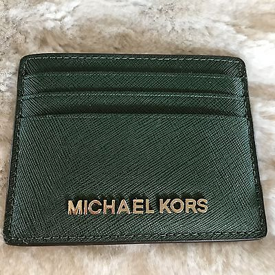 NWT MICHAEL KORS SAFFIANO LEATHER JET SET TRAVEL LARGE CARD HOLDER IN