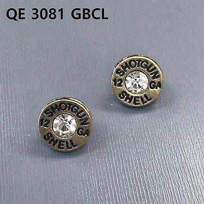 Gold Finish Clear Stone Shotgun 12 GA Shell Engraved Bullet Shape Stud Earrings ()