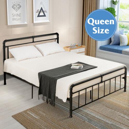 Queen Size Metal Bed Frame Platform Mattress Foundation Bedr