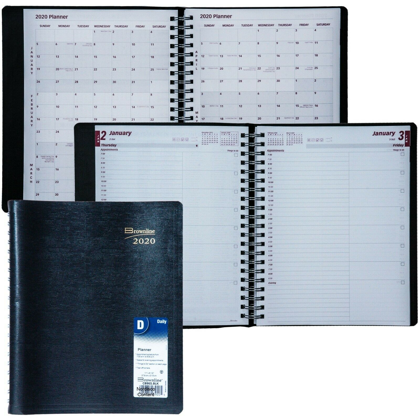 2020 cb965 blk daily planner appointment book