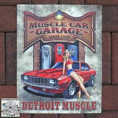 Muscle Car Signs - MUSCLE CAR GARAGE DETROIT MUSCLE Tin Sign Shop Man Cave Hot Rod Camaro S-1568