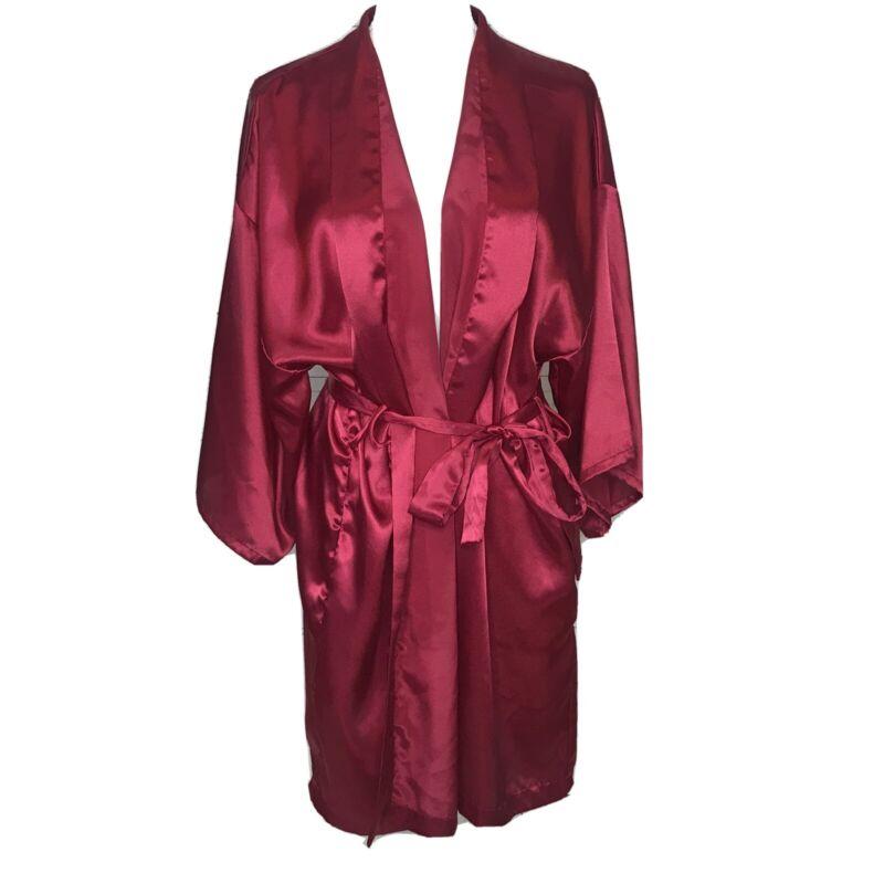 Vintage Victorias Secret Womens Robe Short 3/4 Sleeve Maroon Tie Waist One Size
