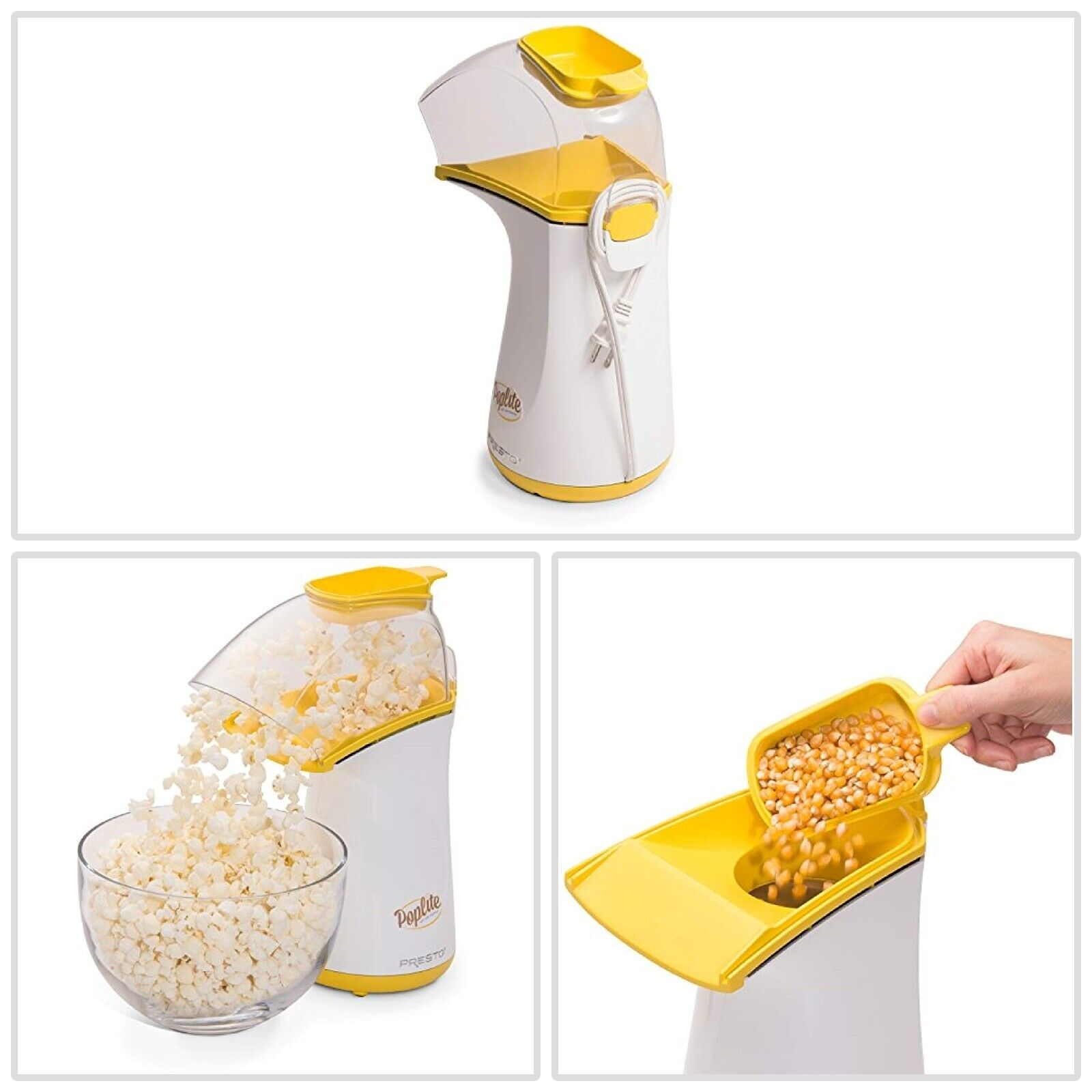 Pop Lite Hot Air Popper 120 Volt Plastic Yellow Small Applia
