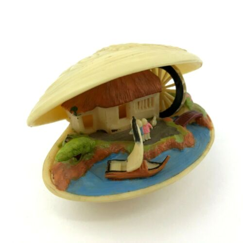 VTG Japanese Celluloid Carved Clam Shell Painted Diorama Boat House Water Wheel