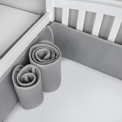 "Mini Crib Bumper Pads for Boys Portable Crib Liners Padding 24""x 38"" 4PCs Gray"