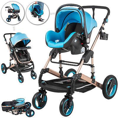 Luxury Baby Stroller 3 Sa 1 Pushchair Foldable Buggy Sanggol na Paglalakbay sa W / Car Seat