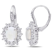 Amour Sterling Silver Opal and White Topaz with Diamond Accent Dangle Earrings