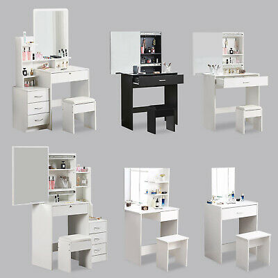 Modern Dressing Table Jewelry Makeup Desk w/ Mirror & Drawer Vanity Set Bedroom
