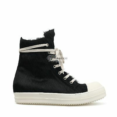 RICK OWENS PONY HAIR HIGH TOP SNEAKERS LEATHER FREE SHIPPING