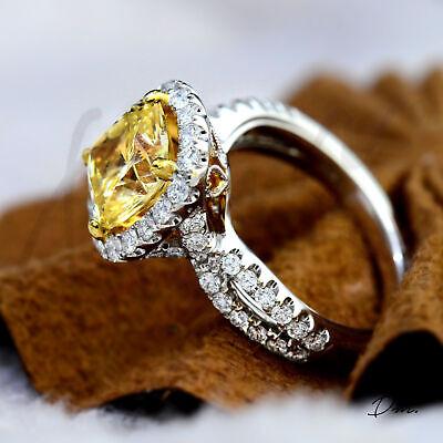 Natural 2.60 TCW Cushion Cut Split Shank Halo Pave Diamond Engagement Ring - GIA 1
