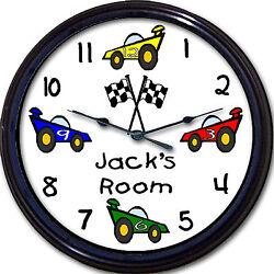 Race Car Custom Personalized Wall Clock Child Transportation NASCAR Bedroom New