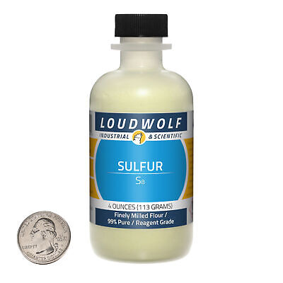 Sulfur 4 Ounce Bottle 99 Pure Reagent Grade Finely Milled Flour Usa