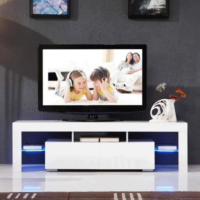 high gloss white tv stand unit cabinet wled light shelves 2 drawers console