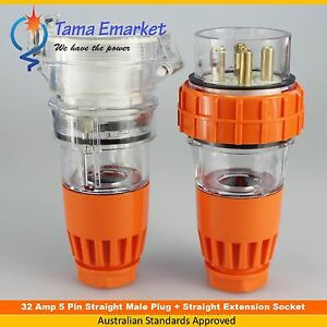 32 Amp Straight Male Plug & Straight Female Socket 5 Pin 3 Phase 32A Industrial