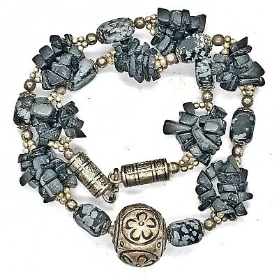 Antique Southeast Asian Necklace Nepal Silver Tone Stone Beads Buddhist Old Rare