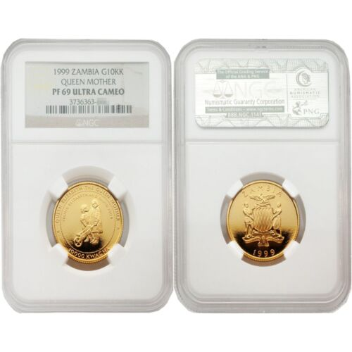 Zambia 1999 Queen Mother 10,000 Kwacha Gold NGC PF-69