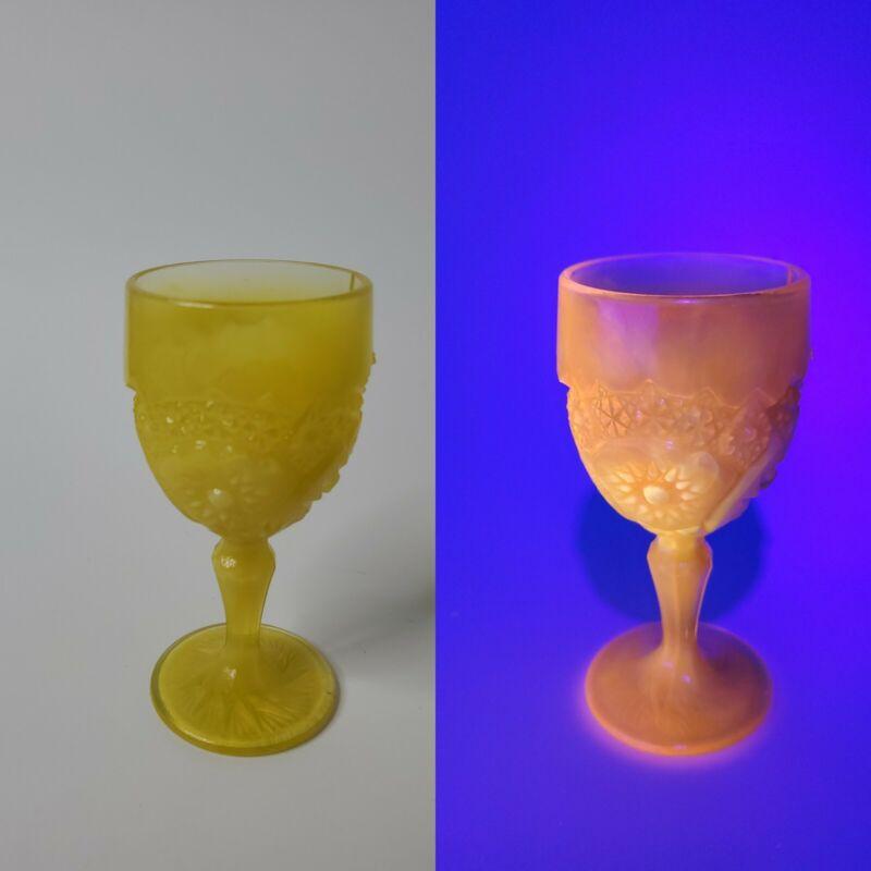Vtg. Rare Mini Goblet Uranium Glass Glows Orange