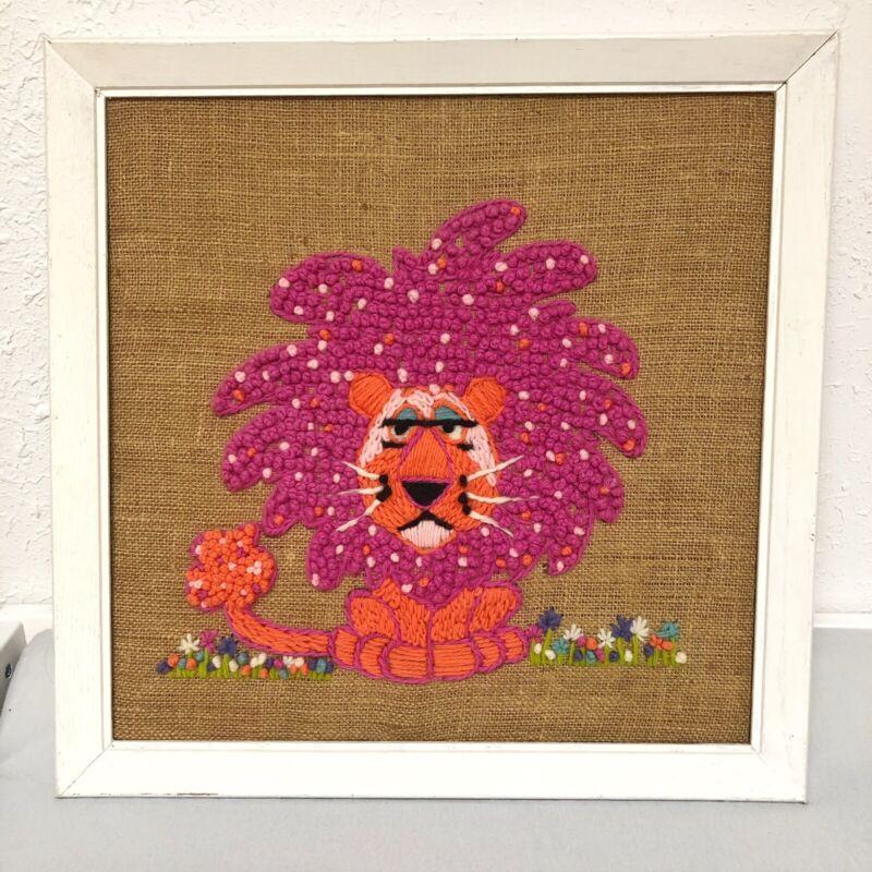 Vintage Crewel Creatures Embroidery Pink Lion Finished Framed Art Nursery Burlap