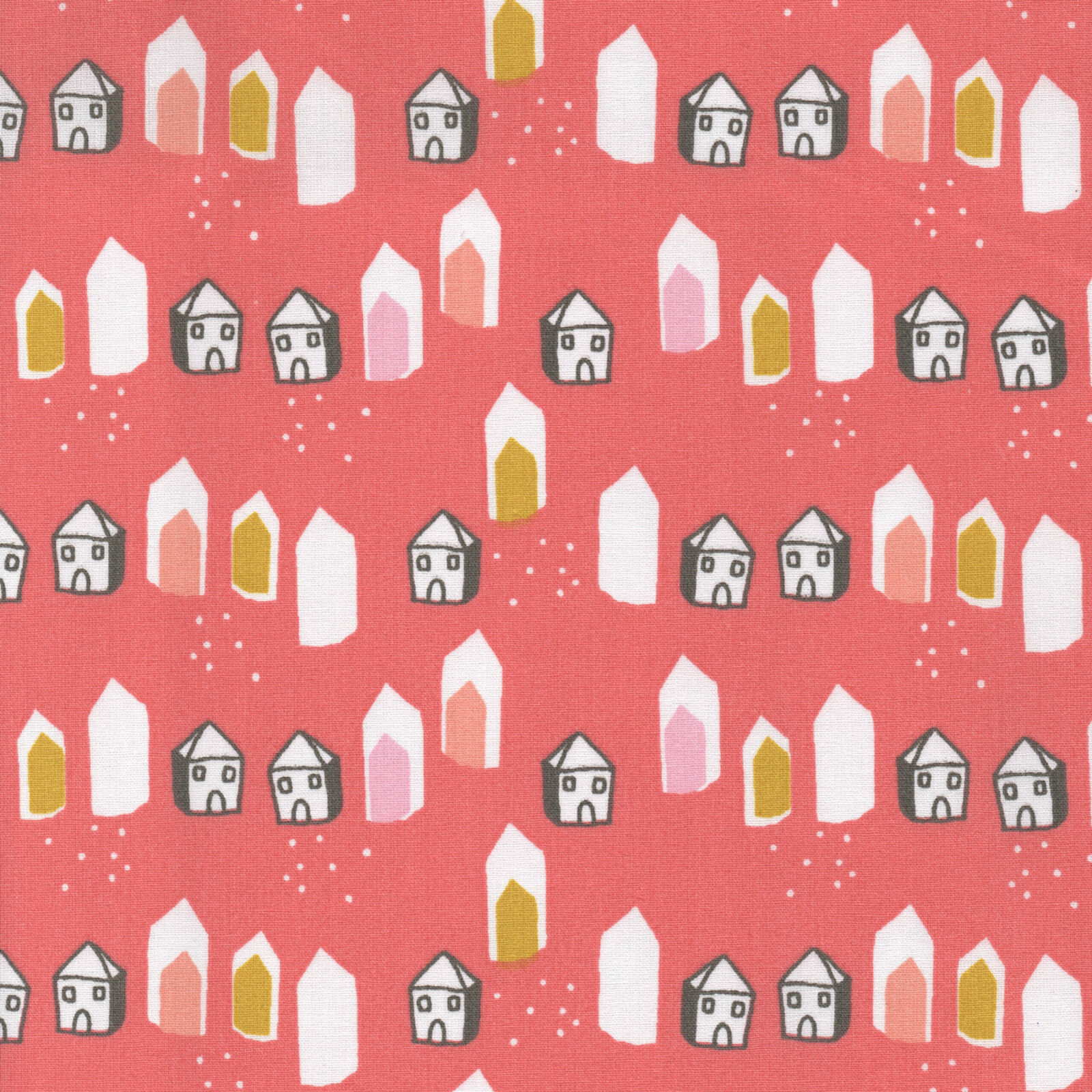FOX GROVE FOXES HOUSE FLORAL PINK YELLOW  cotton fabric FQ  METRE OR BUNDLE