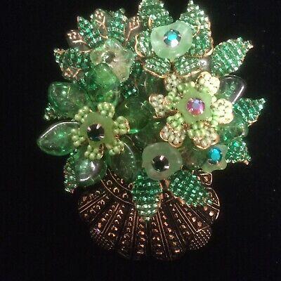 Stanley Hagler Large Basket Of Bright Green Flowers, Signed (Crystal Stanley)