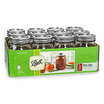 Ball 12-Pack Of 1-Pint (16 oz.) Regular Mouth Canning Mason Jars,Microwave Safe